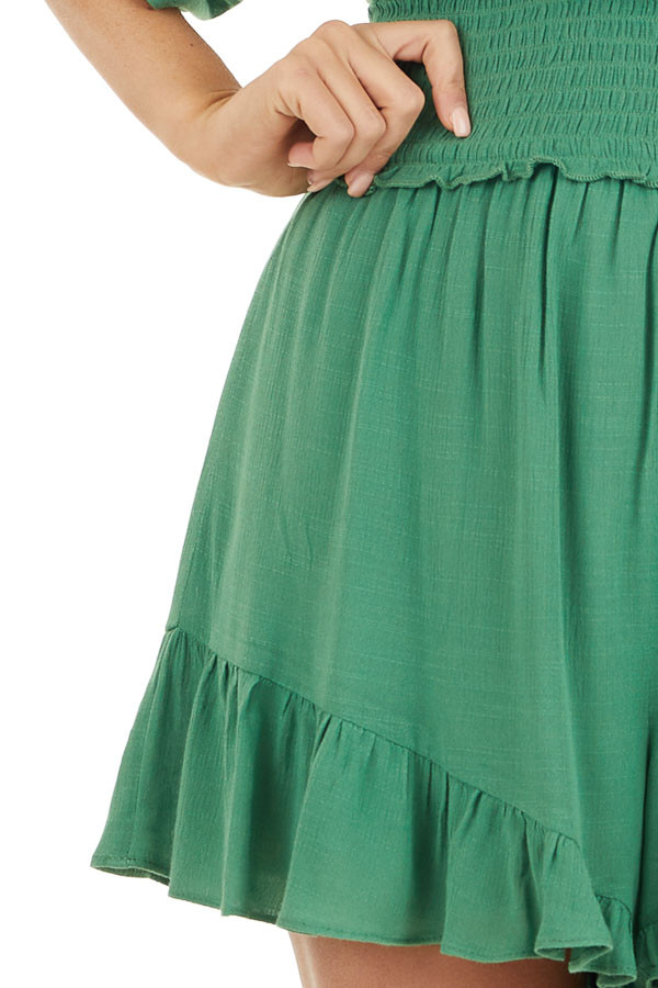Shamrock Short Sleeve Surplice Romper with Smocked Waist detail