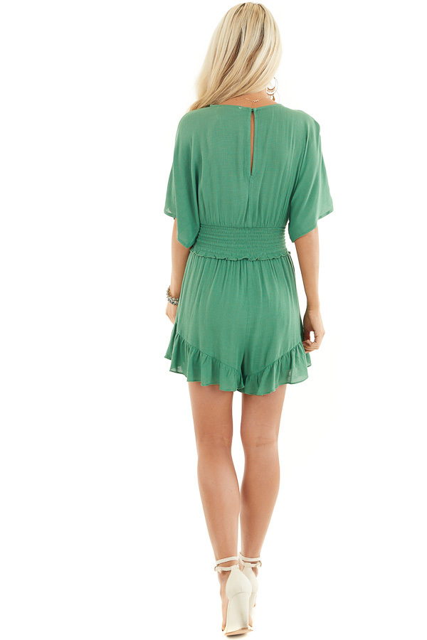 Shamrock Short Sleeve Surplice Romper with Smocked Waist back full body