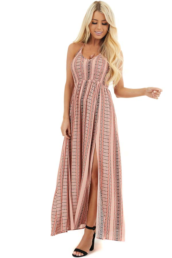 Baby Pink Printed Halter Maxi Dress with Side Slit Details front full body