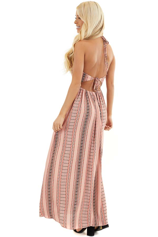 Baby Pink Printed Halter Maxi Dress with Side Slit Details side full body
