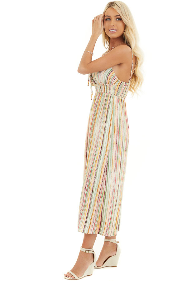 Multicolor Striped Wide Leg Jumpsuit with Spaghetti Straps side full body