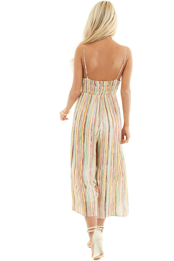 Multicolor Striped Wide Leg Jumpsuit with Spaghetti Straps back full body