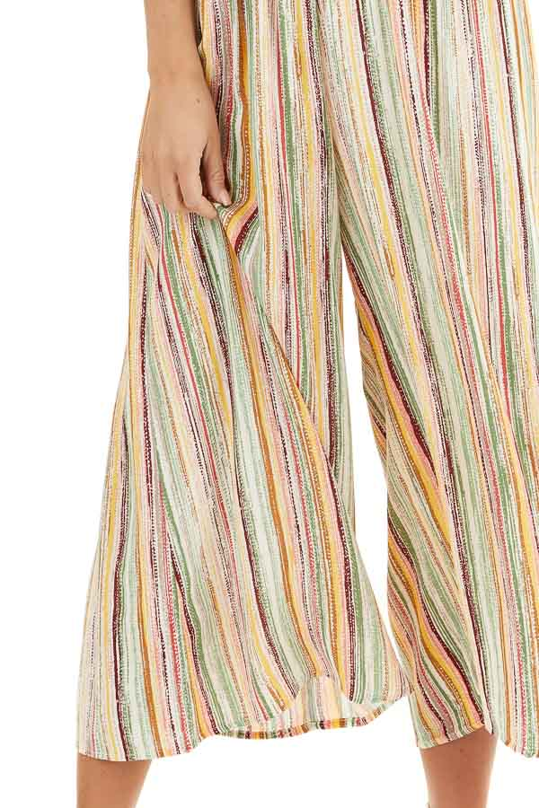 Multicolor Striped Wide Leg Jumpsuit with Spaghetti Straps detail