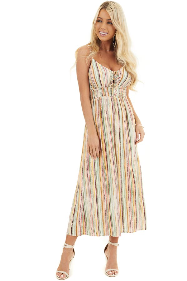 Multicolor Striped Wide Leg Jumpsuit with Spaghetti Straps front full body