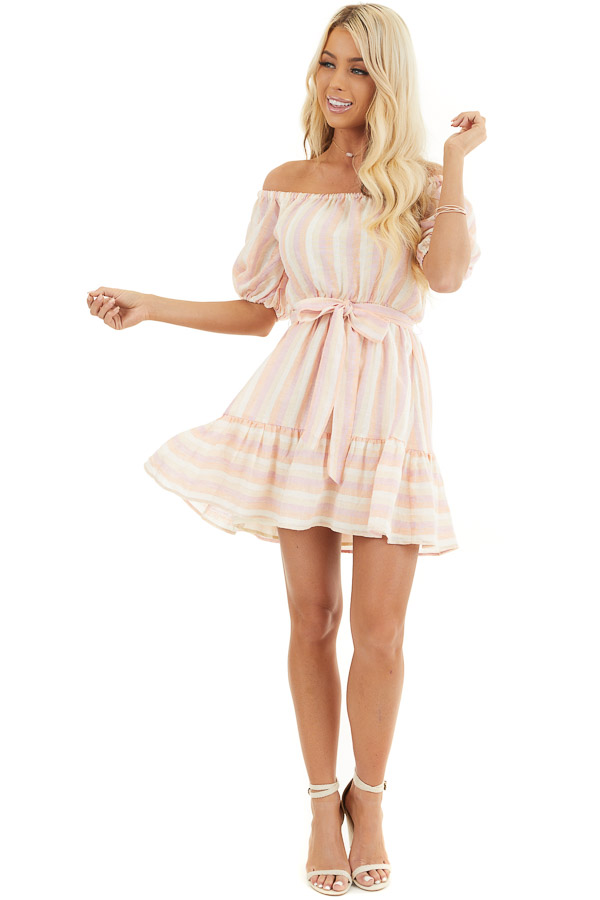Blush and Peach Striped Off the Shoulder Mini Dress with Tie front full body