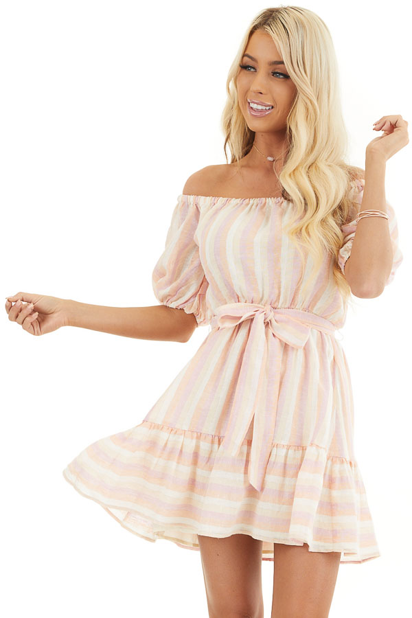 Blush and Peach Striped Off the Shoulder Mini Dress with Tie front close up
