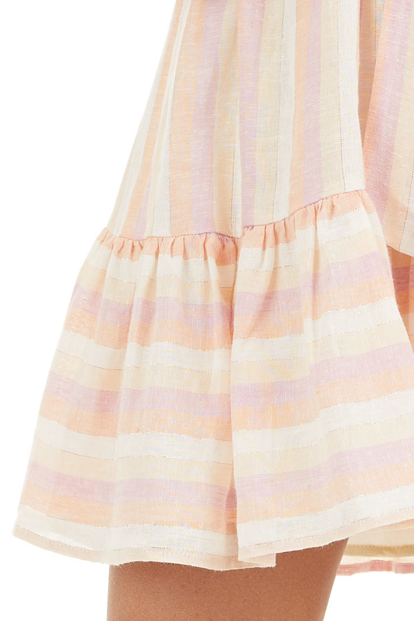 Blush and Peach Striped Off the Shoulder Mini Dress with Tie detail