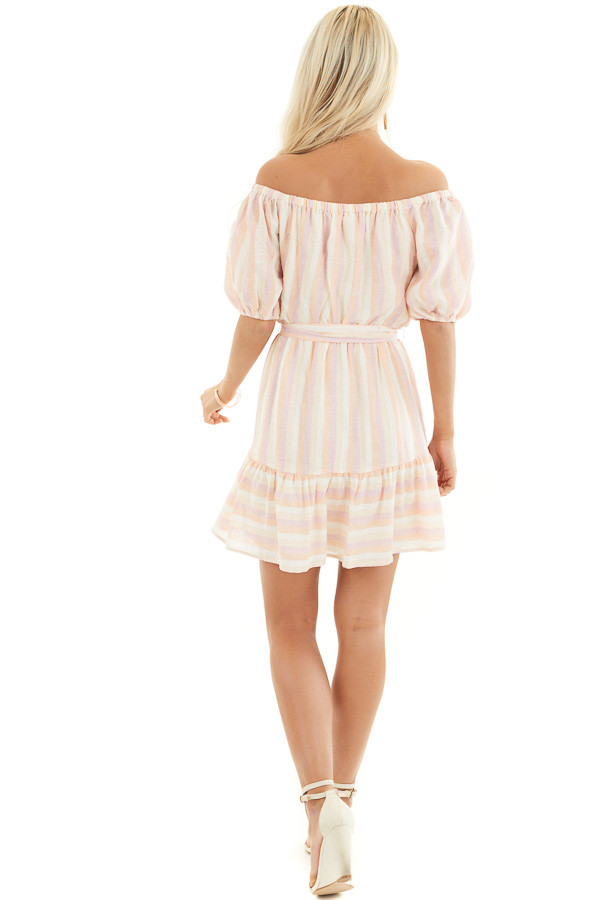 Blush and Peach Striped Off the Shoulder Mini Dress with Tie back full body