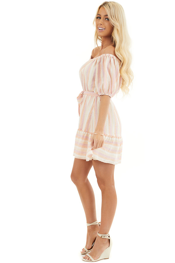 Blush and Peach Striped Off the Shoulder Mini Dress with Tie side full body