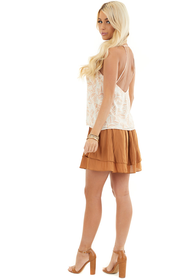 Ivory and Tangerine Leaf Print Cami Top with Open Back side full body