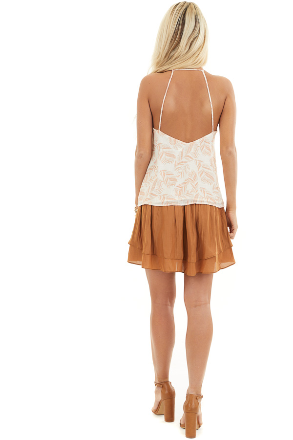 Ivory and Tangerine Leaf Print Cami Top with Open Back back full body