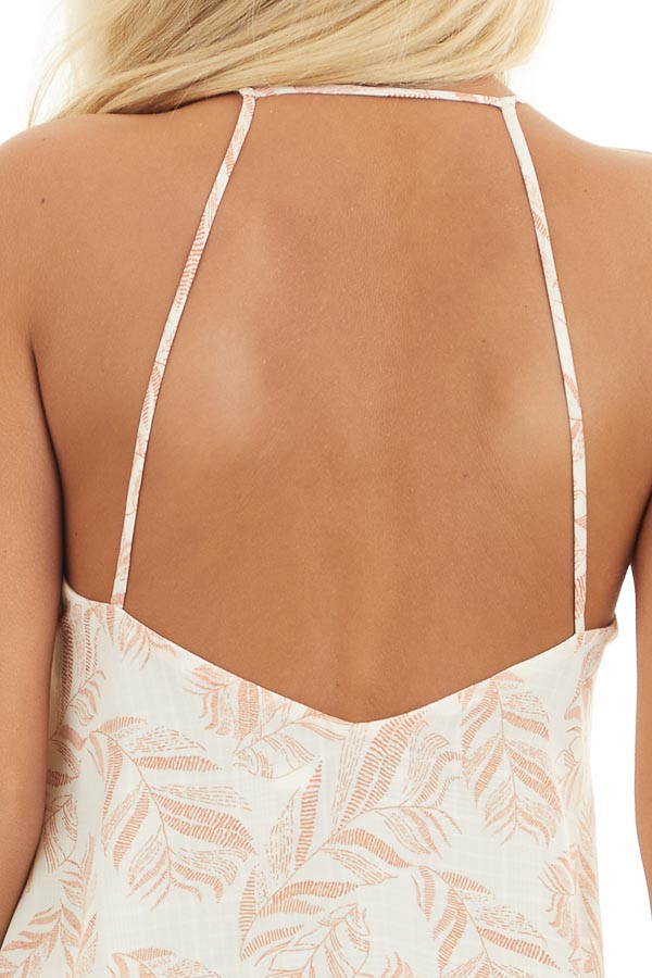 Ivory and Tangerine Leaf Print Cami Top with Open Back detail