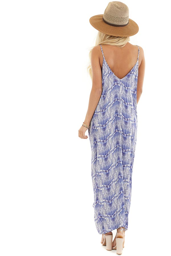 Cream and Royal Blue Printed Maxi Dress with V Neckline back full body