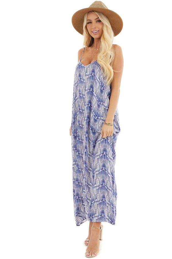 Cream and Royal Blue Printed Maxi Dress with V Neckline front full body