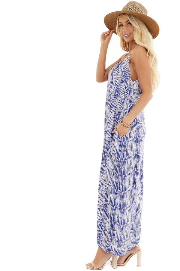 Cream and Royal Blue Printed Maxi Dress with V Neckline side full body