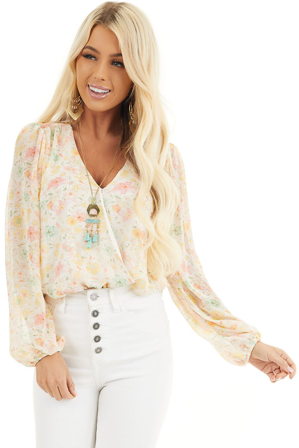 Cream Floral Surplice Bodysuit with Long Bubble Sleeves front close up