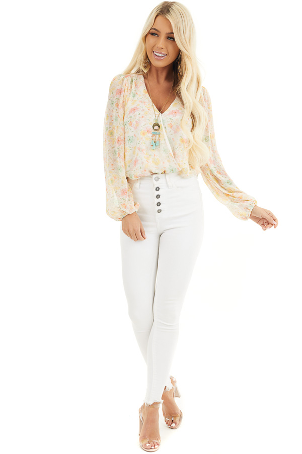 Cream Floral Surplice Bodysuit with Long Bubble Sleeves front full body