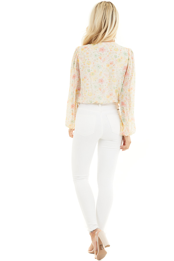 Cream Floral Surplice Bodysuit with Long Bubble Sleeves back full body