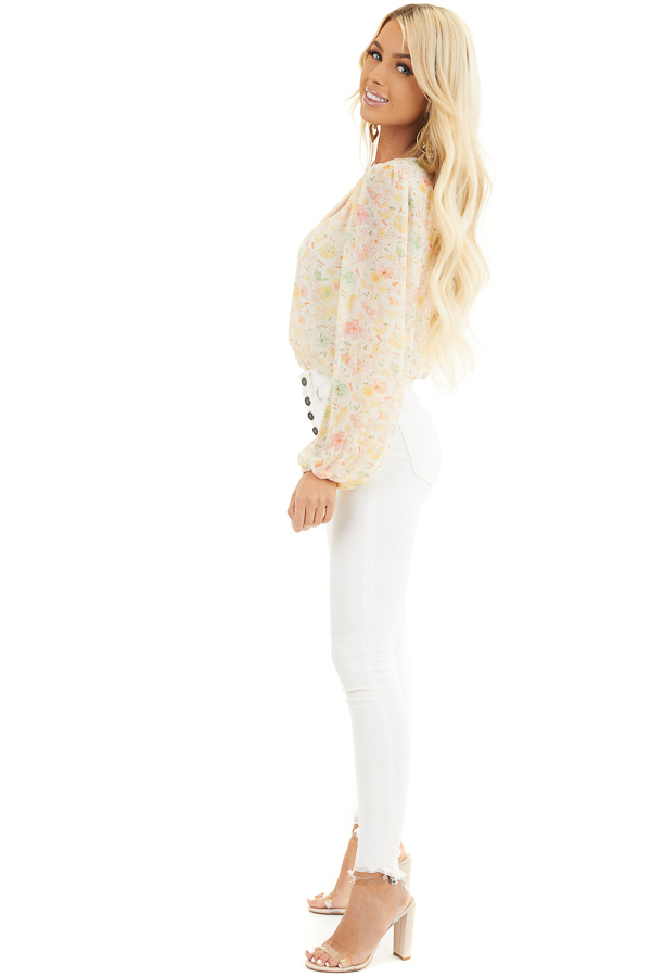 Cream Floral Surplice Bodysuit with Long Bubble Sleeves side full body