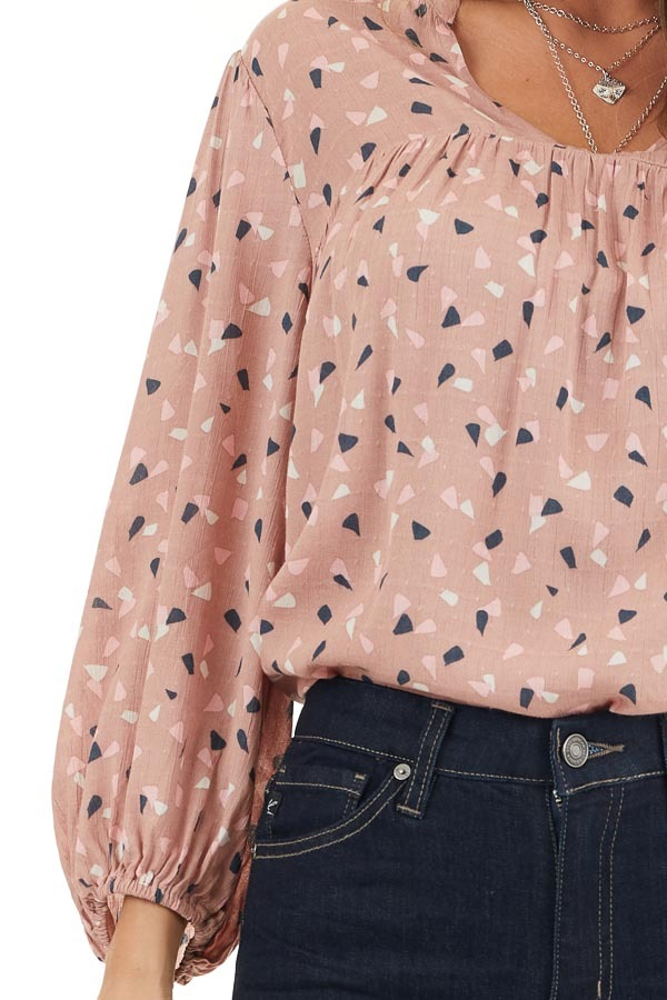 Dusty Rose Printed Long Sleeve Collared V Neck Blouse detail