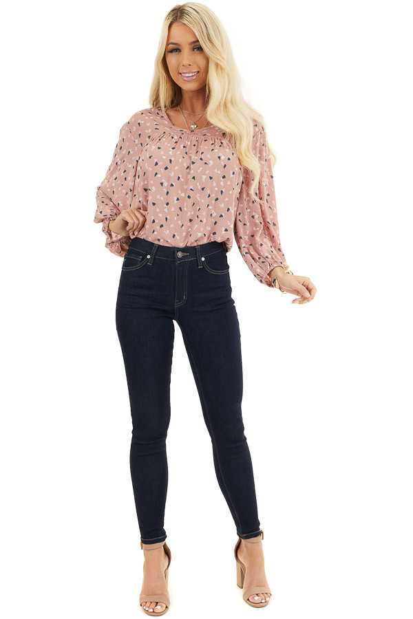 Dusty Rose Printed Long Sleeve Collared V Neck Blouse front full body