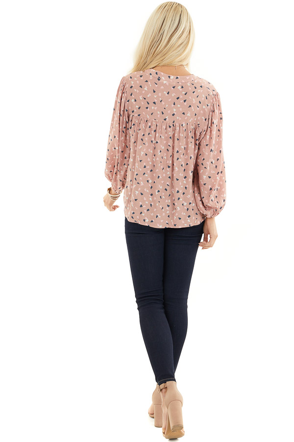 Dusty Rose Printed Long Sleeve Collared V Neck Blouse back full body