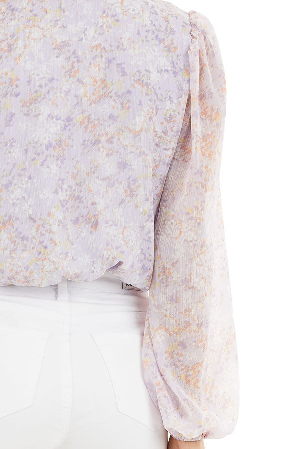 Lilac Floral Surplice Bodysuit with Long Bubble Sleeves detail