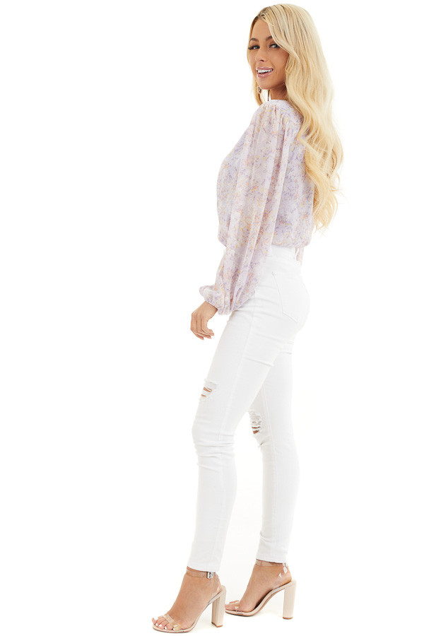 Lilac Floral Surplice Bodysuit with Long Bubble Sleeves side full body