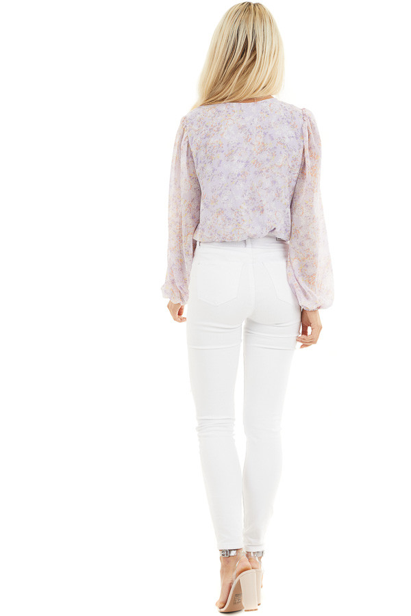Lilac Floral Surplice Bodysuit with Long Bubble Sleeves back full body