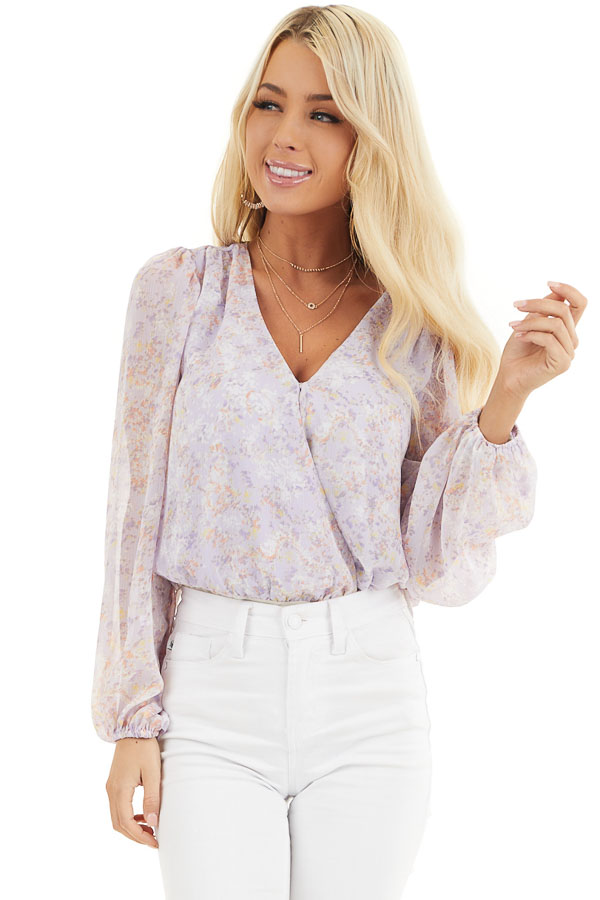 Lilac Floral Surplice Bodysuit with Long Bubble Sleeves front close up