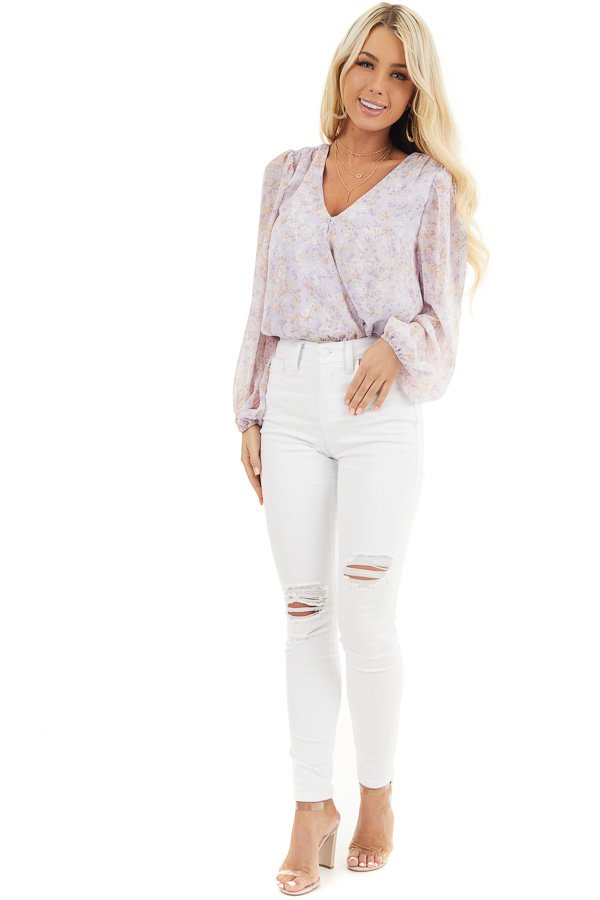 Lilac Floral Surplice Bodysuit with Long Bubble Sleeves front full body