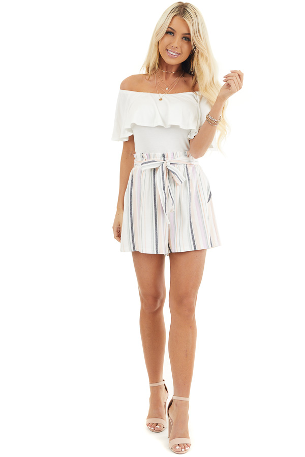 Multicolor Striped High Waisted Paperbag Shorts with Tie front full body
