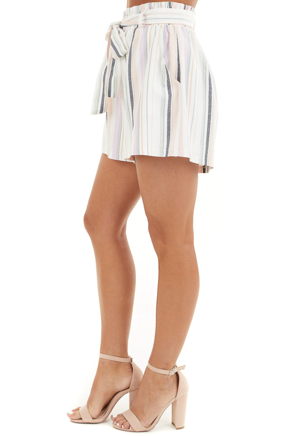 Multicolor Striped High Waisted Paperbag Shorts with Tie side view