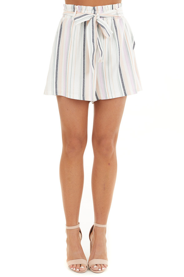 Multicolor Striped High Waisted Paperbag Shorts with Tie front view