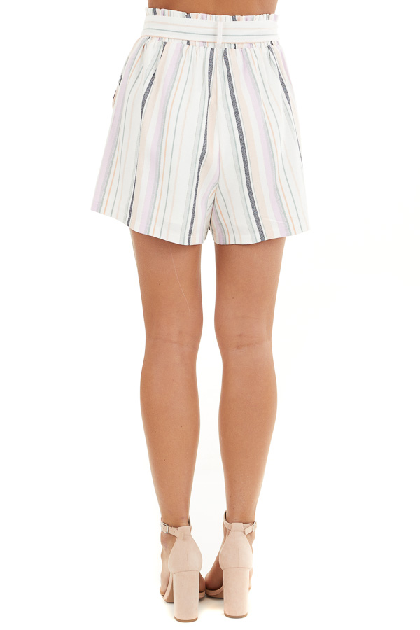 Multicolor Striped High Waisted Paperbag Shorts with Tie back view