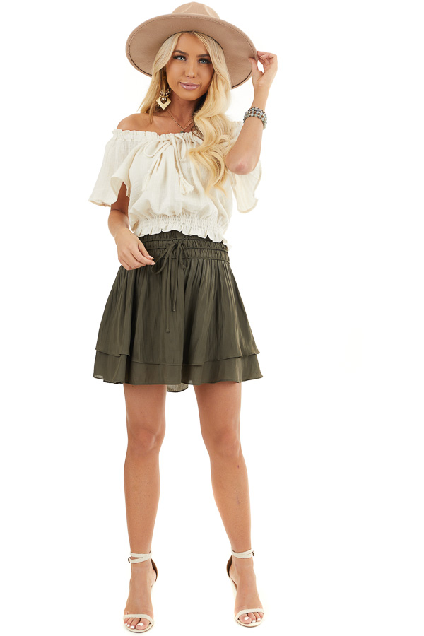 Cream Off Shoulder Short Sleeve Top with Smocked Details front full body