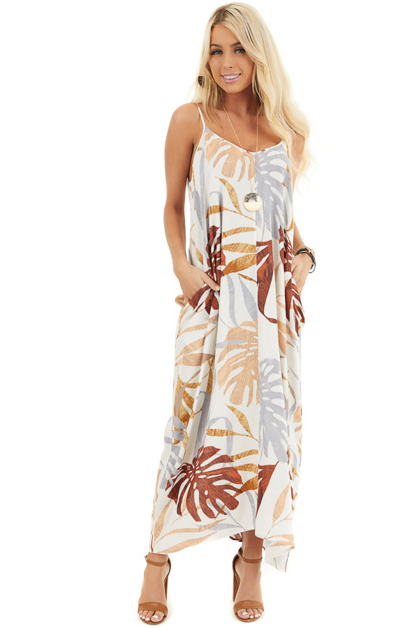Cream and Peach Floral Print Maxi Dress with V Neckline front full body
