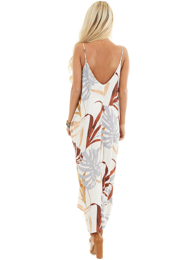 Cream and Peach Floral Print Maxi Dress with V Neckline back full body
