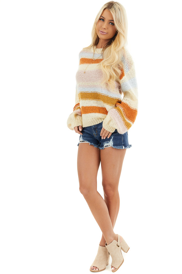 Cream Striped Long Bubble Sleeve Chunky Knit Sweater front full body