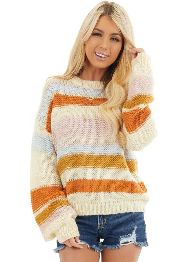 Cream Striped Long Bubble Sleeve Chunky Knit Sweater front close up