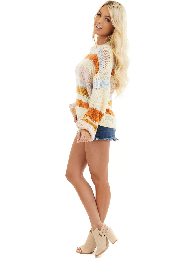 Cream Striped Long Bubble Sleeve Chunky Knit Sweater side full body