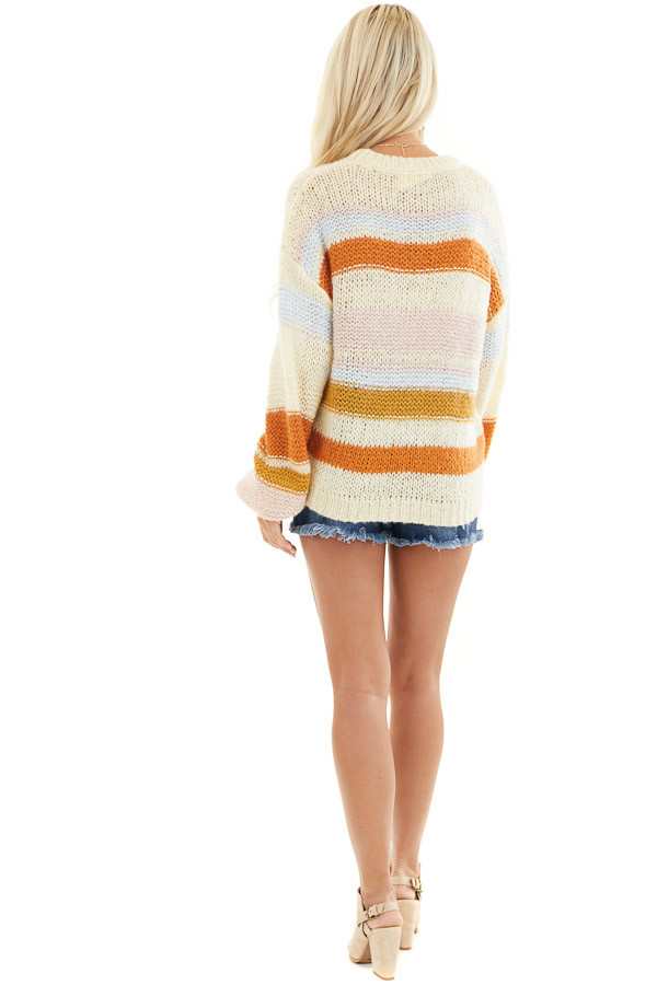 Cream Striped Long Bubble Sleeve Chunky Knit Sweater back full body