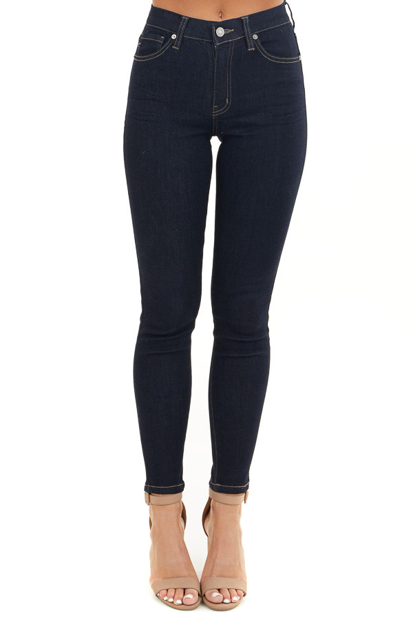 Dark Wash Ankle Length High Waisted Skinny Jeans front view