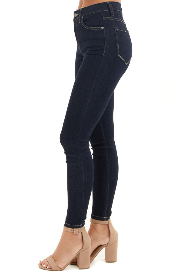 Dark Wash Ankle Length High Waisted Skinny Jeans side view