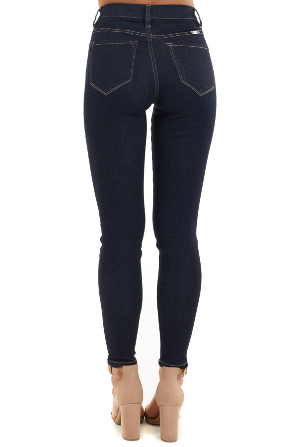 Dark Wash Ankle Length High Waisted Skinny Jeans back view