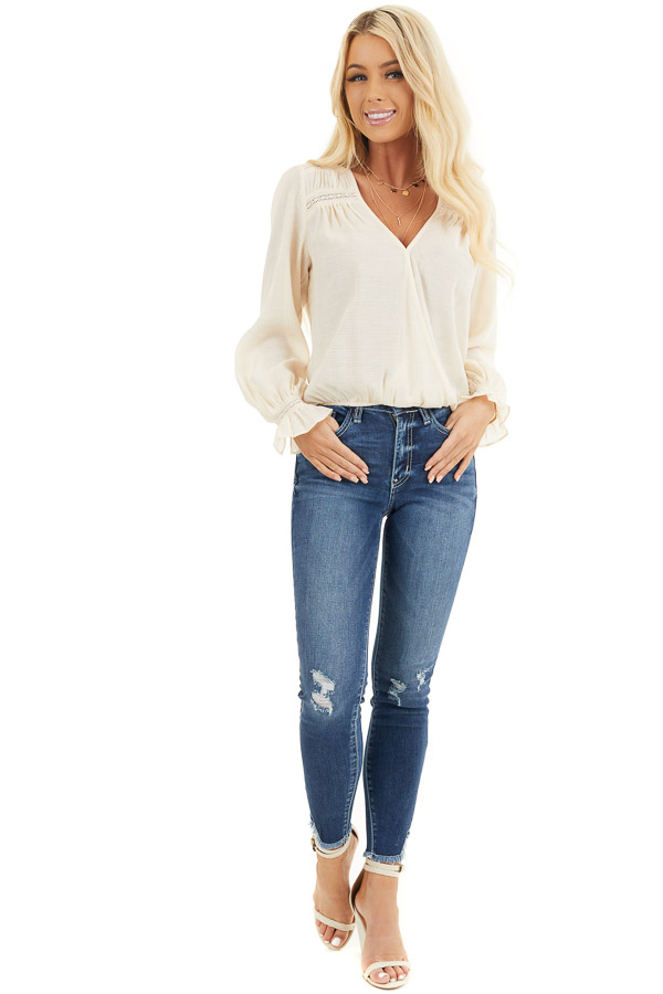 Cream V Neck Surplice Blouse with Crochet Lace Details front full body