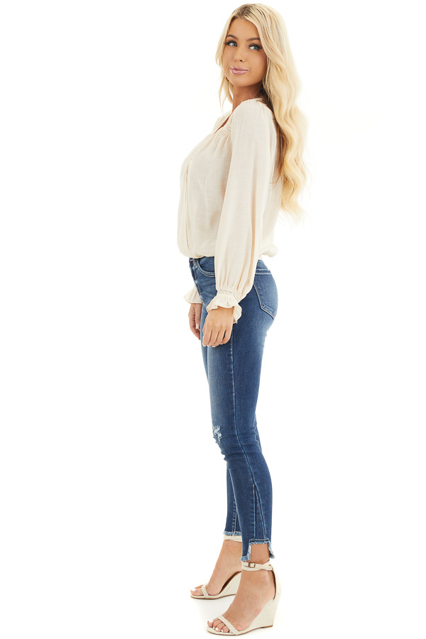Cream V Neck Surplice Blouse with Crochet Lace Details side full body