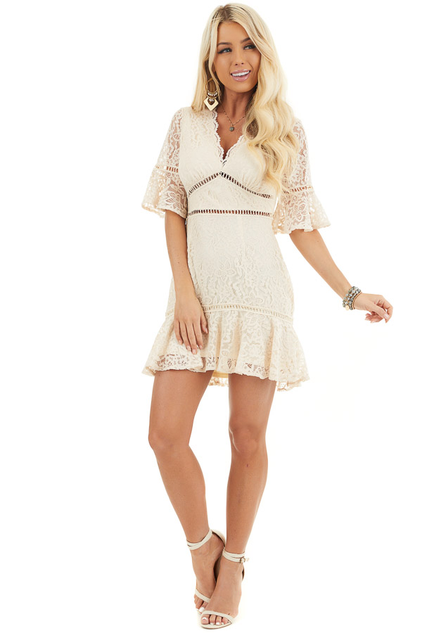 Cream Lace Mini Dress with Peek A Boo Crochet Details front full body