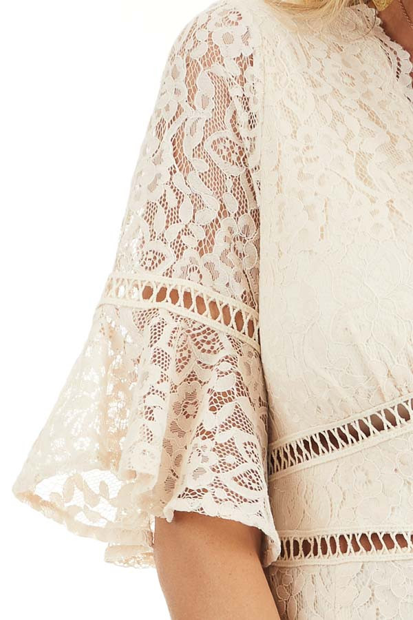 Cream Lace Mini Dress with Peek A Boo Crochet Details detail