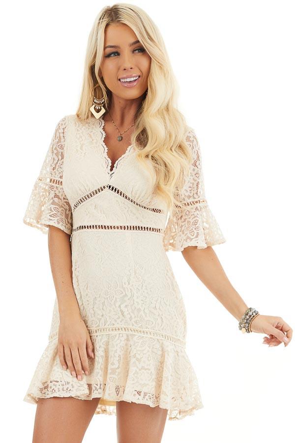 Cream Lace Mini Dress with Peek A Boo Crochet Details front close up